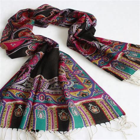 indian style fancy floral pashmina scarf shawl