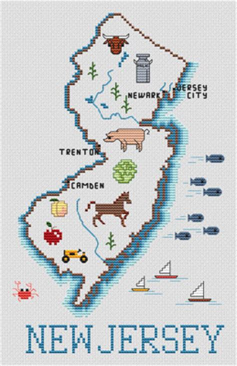 New Jersey Pattern Images | sue hillis new jersey map cross stitch pattern