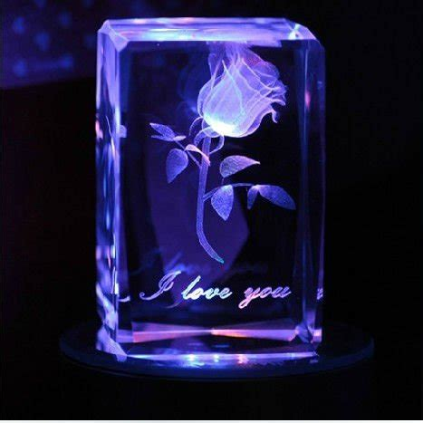 laser engraved crystal with lighted led base 3d laser etched crystal rose with led light base buy 3d