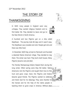 the story about thanksgiving the story of thanksgiving worksheet free esl printable