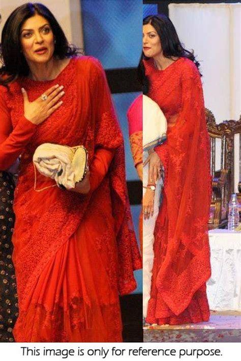 sushmita sen in saree bollywood style sushmita sen net brasso saree in red