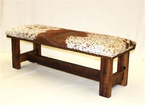 cow hide bench rorys rustic furniture