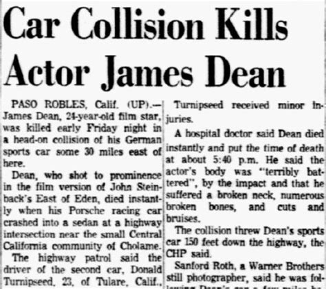 obituary headlines the dallas morning news did james dean die instantly car collision kills actor