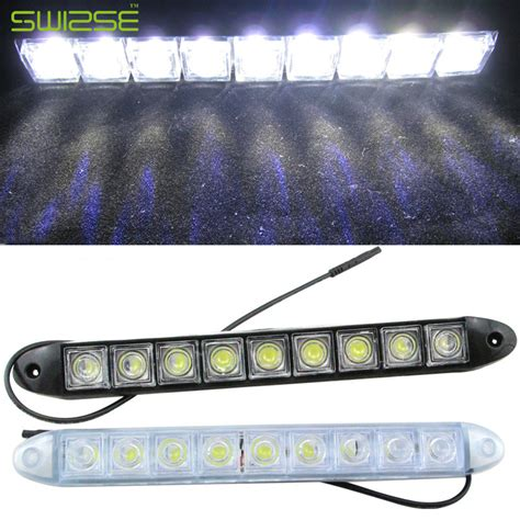 universal led car daytime running daylight drl fog light high quality flexible universal 12 led daytime running