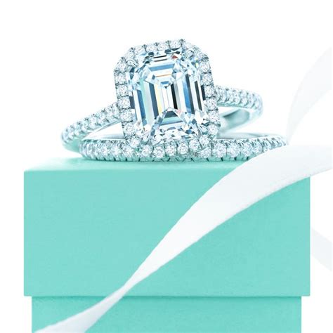 tiffany soleste 174 emerald cut halo engagement ring with