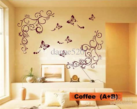 butterfly vine flower wall art stickers decals wall paster