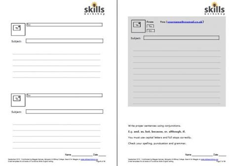email writing template email writing frames for functional skills workshop