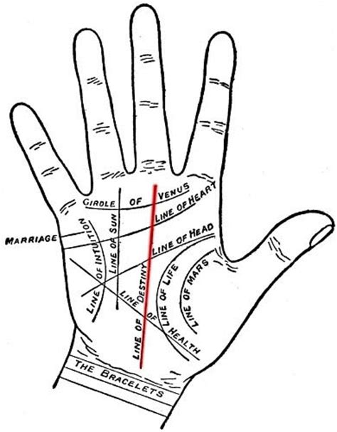 palm reading diagram destiny through fate line palmistry
