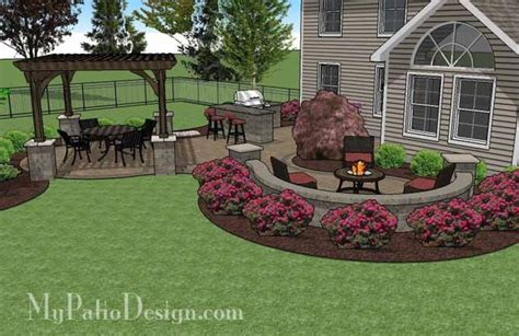 design my patio large paver patio design with pergola and grill station
