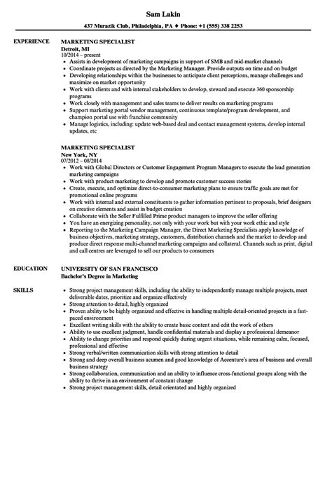 Marketing Specialist Resume by Marketing Specialist Resume Sles Velvet