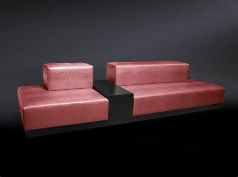 crocodile couch italian baby pink crocodile leather sofa with integrated table