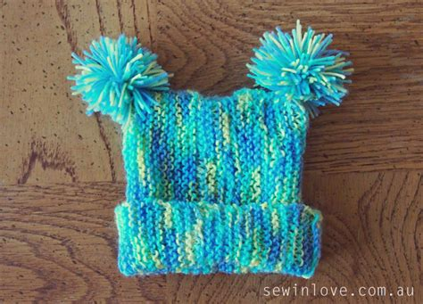 Free Baby Hat Knitting Pattern With Pom Poms Garter