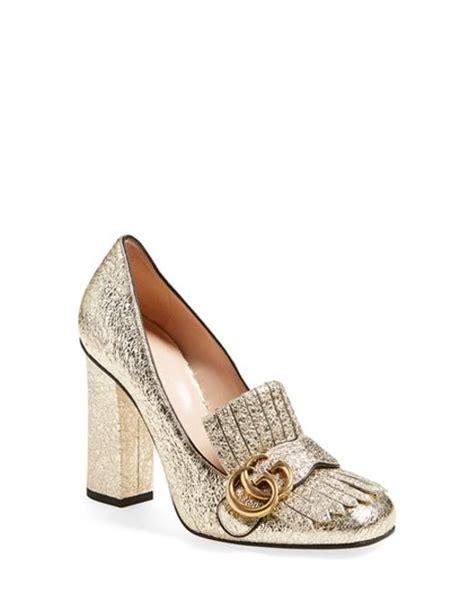 Shoes Gucci 520 10 Semprem gucci marmont metallic pumps in gold lyst