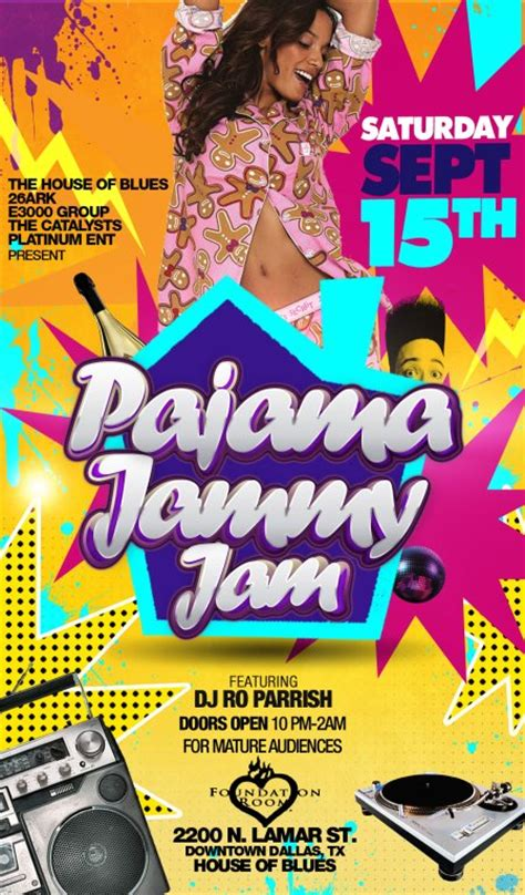 Dallasblack Com The Pajama Jammy Jam Pajama Flyer Template
