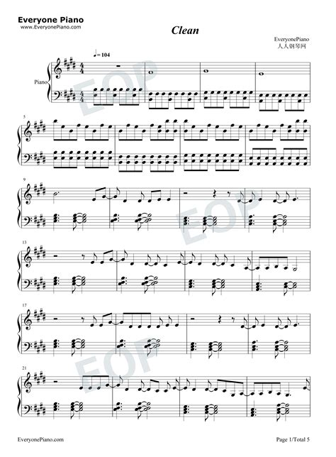 taylor swift clean piano sheet music clean taylor swift stave preview