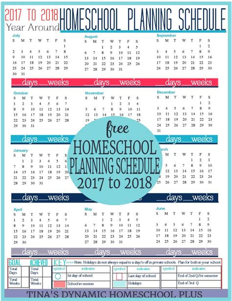 printable calendar homeschool free 2017 2018 year round homeschool planning form
