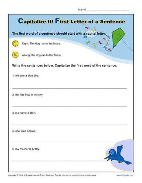 Kindergarten Capitalization Worksheets kindergarten capitalization worksheet letter of a