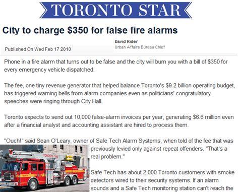 city to charge 350 for false alarms toronto