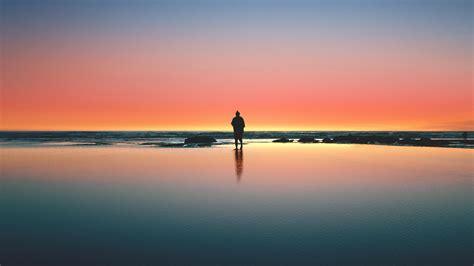 wallpaper sunset  beach sea horizon moon