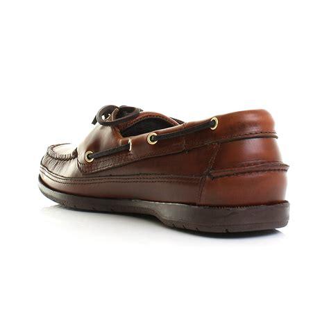 mens sebago schooner brown waxy leather moccasin deck boat