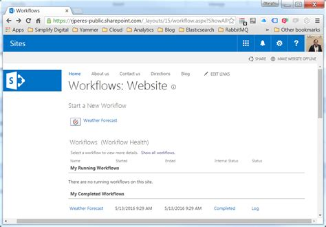 sharepoint stop workflow development with a dot getting the weather forecast