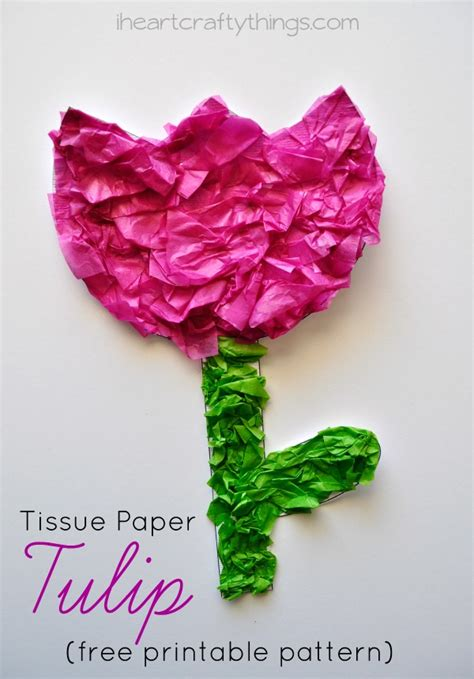 Tissue Paper Craft Ideas For - tissue paper tulip craft with printable pattern i