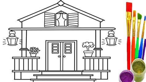 how to draw a house kids pinterest house drawing drawings and how to draw house for kids coloring pages and learn colors