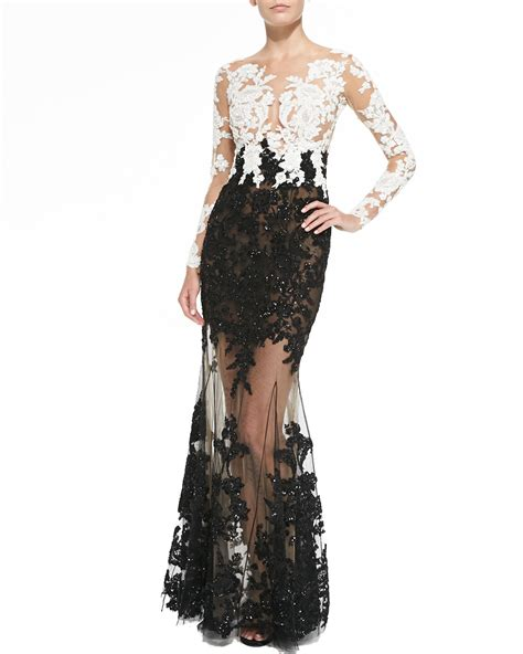 Lace Embroidered Dress zuhair murad lace embroidered sheer gown in black lyst