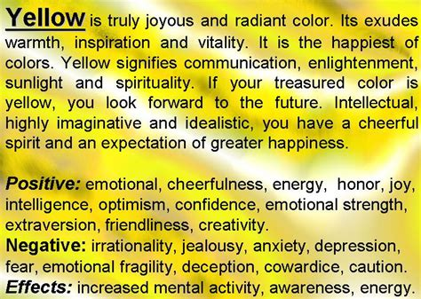 what does the color yellow in a yellow color psychology yellow meaning personality