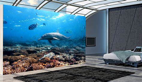 temporary wall murals dolphins underwater wall mural and removable sticker