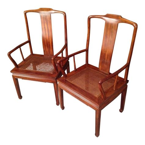henredon asian cane dining arm chairs pair chairish