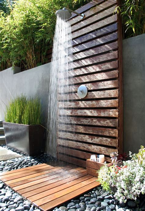 outdoor showers park residence fiore landscape design shower wood modern outdoor showers
