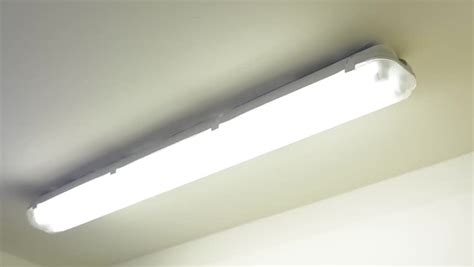 switch the light on one fluorescent l ceiling stock