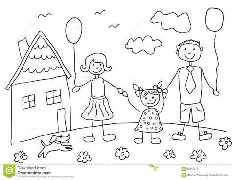 Mother Daughter House Plans child s drawing happy family with dog father mother
