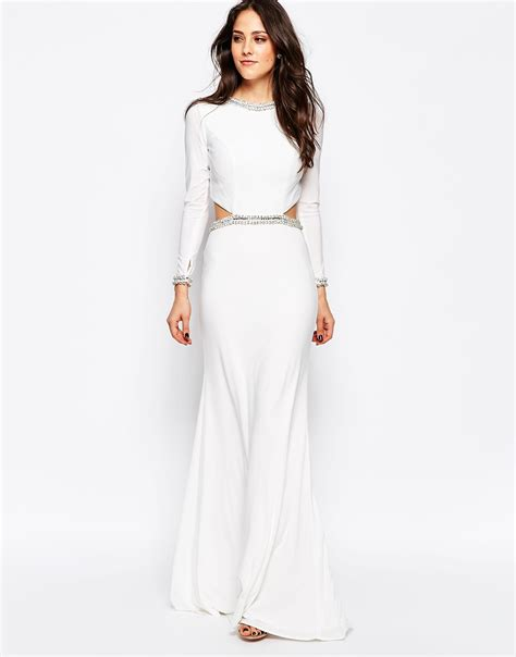 Tiara Maxi forever unique tiara sleeve maxi dress with cut outs and embellishment in white lyst