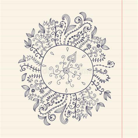 doodles floral frame on grunge paper vector illustration stock vector illustration of
