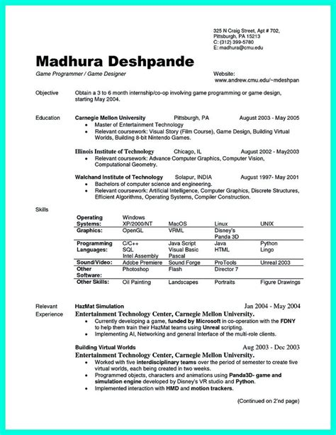 internship resume sles for computer science 100 ideas to try about resume sle template and format
