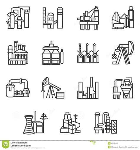 tecnico alimentare industrial objects line icons set stock illustration