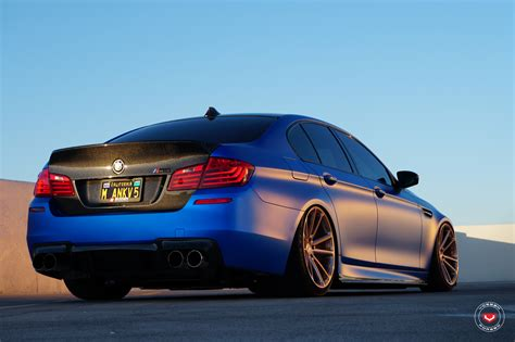 bmw m5 slammed a slammed blue bmw f10 m5 with vossen wheels