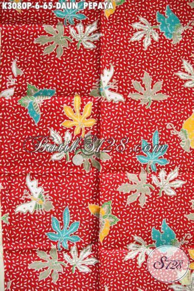 Kamen Batik Motif Daun Pepaya batik warna merah motif daun pepaya proses printing