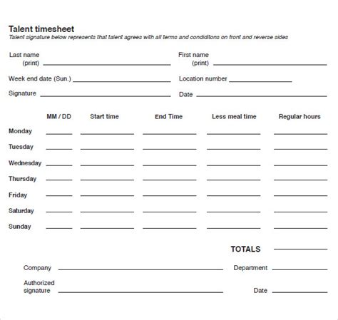 Blank Time Cards 9 Blank Timesheet Templates Free Sle Exle Format