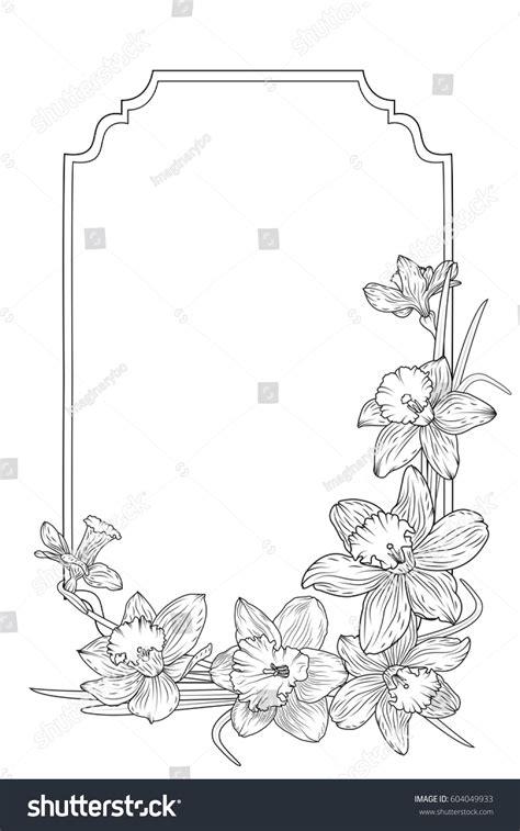 fantastical spring summer flowers black white stock vector 410324998