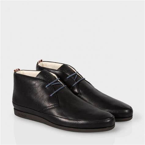 paul smith s black leather loomis chukka boots with