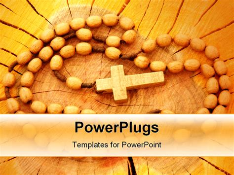 catholic powerpoint templates wooden rosary on wooden background religion related item