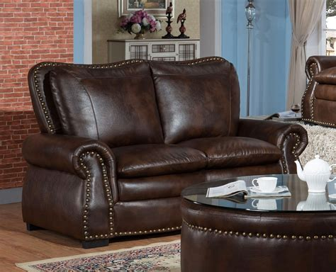 leather and fabric sofa and loveseat lincoln traditional brown sofa loveseat set in leather