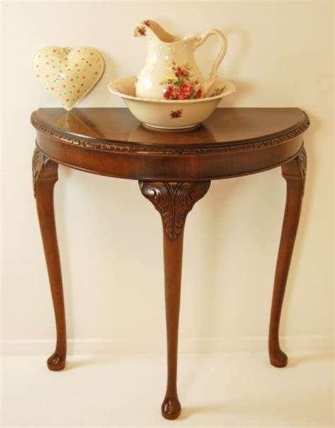walnut demi lune console table hall side antique small
