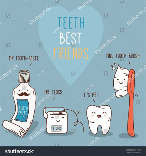 best tooth floss teeth best friends tooth past tooth stock vector 203910283