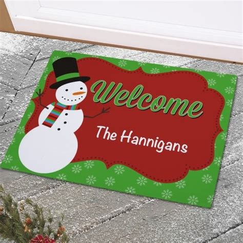 ca christmas welcome message personalized snowman welcome mat doormat with custom message
