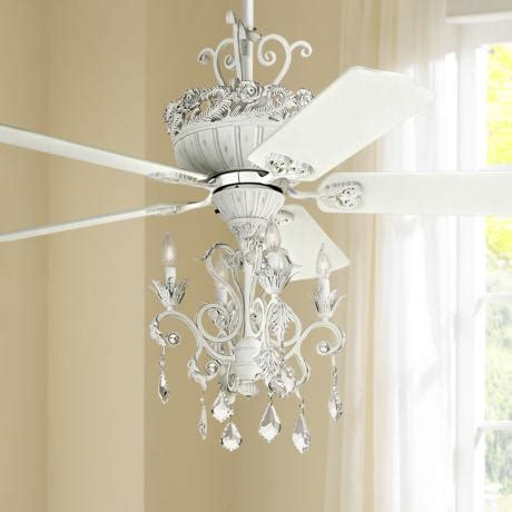 white ceiling fan with chandelier 52 quot casa chic rubbed white chandelier ceiling fan 12277