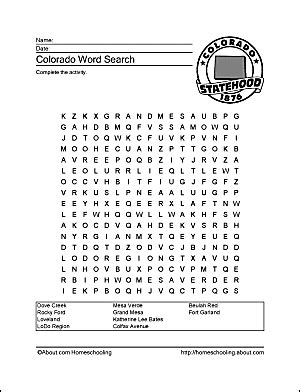 Colorado Search Colorado Wordsearch Crossword Puzzle And More